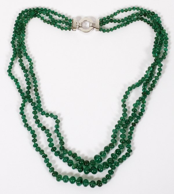 9.50MM - 4.50MM DIA NATURAL EMERALD NECKLACE
