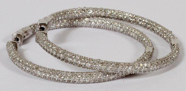 14KT WHITE GOLD & 4.50CT DIAMOND HOOP EARRINGS