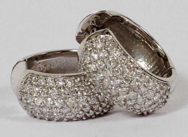 """14KT WHITE GOLD DIAMOND HOOP EARRINGS, DIA .69"""""""