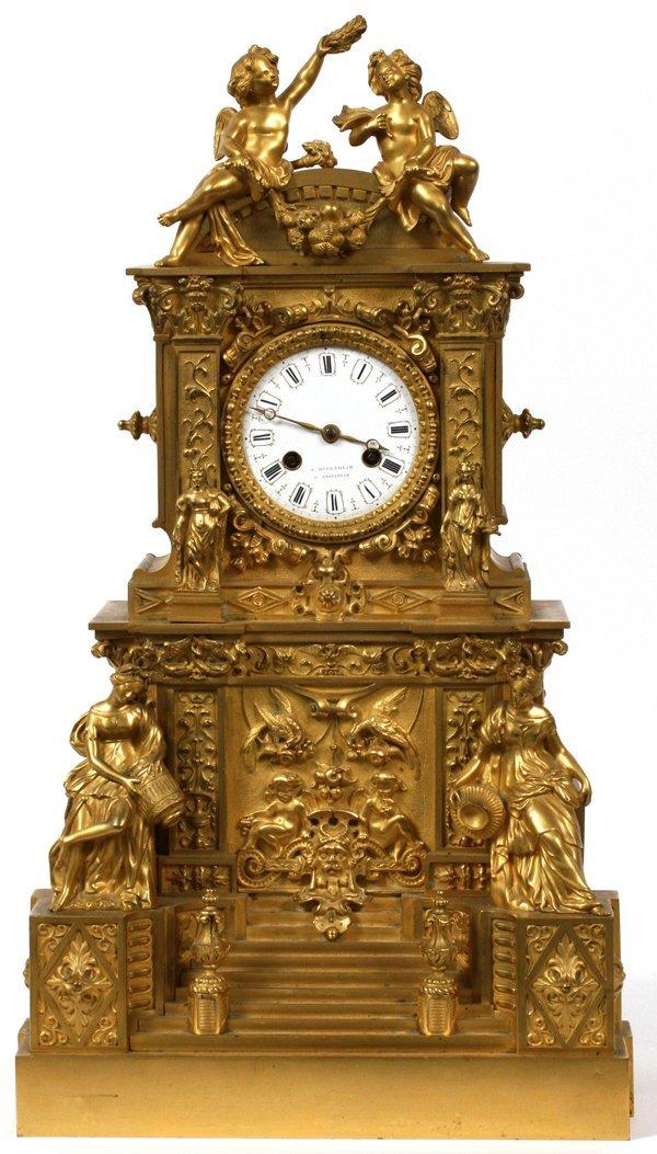 G. OPPENHEIM, A. AMSTERDAM, BRONZE MANTLE CLOCK
