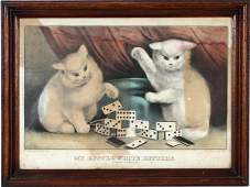 CURRIER  IVES LITHO MY LITTLE WHITE CATS