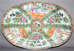 CHINESE ROSE MEDALLION PORCELAIN OVAL TRAY