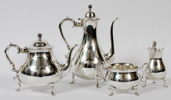 SPAULDING & CO. STERLING TEA & COFFEE SET, FOUR