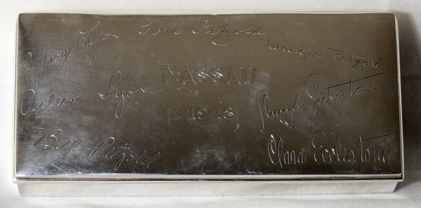 A. TAYLOR STERLING BOX, INSCRIBED & DATED 1948