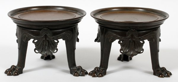 """FRENCH STYLE BRONZE STANDS, PAIR, H 4 1/2"""""""