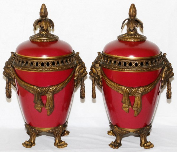 FRENCH PORCELAIN URNS WITH BRONZE MOUNTS, PAIR