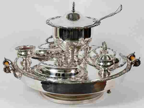 """SILVERPLATE CHAFING LAZY SUSAN, H 18"""", DIA 26"""""""