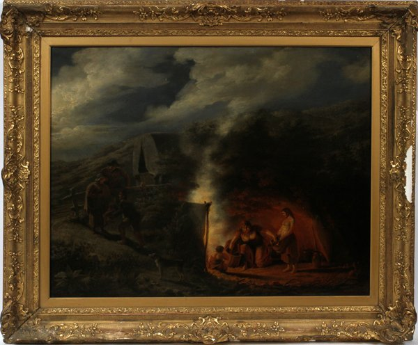 "GEORGE MORLAND OIL ""WAGON TRAIL CAMPFIRE"""