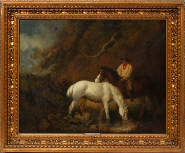 "GEORGE MORLAND, OIL ON CANVAS, 19 1/2""X25 1/2"""