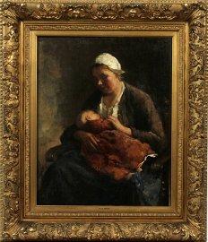 BERNARD DEHOOG OIL ON CANVAS MOTHER AND CHILD