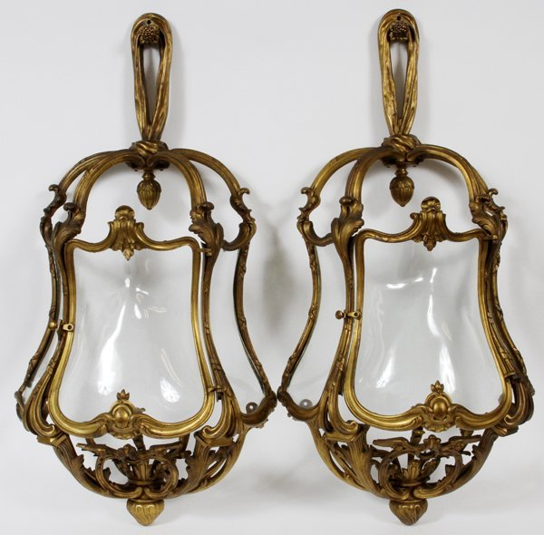FRENCH BRONZE SCONCES PAIR, 19TH.C., H 32""