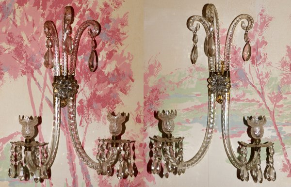 ANTIQUE WATERFORD CRYSTAL, TWO LIGHT SCONCES