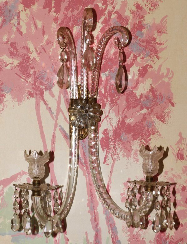 ANTIQUE WATERFORD CRYSTAL, TWO LIGHT SCONCES - 2