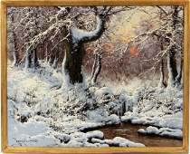 LASZLO NEOGRADY OIL ON CANVAS, SNOW SCENE