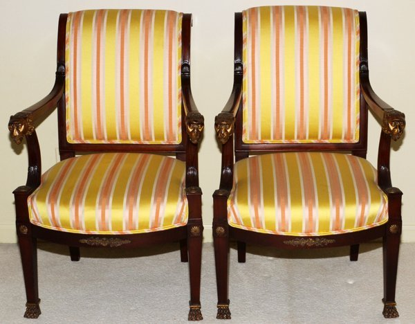 ANTIQUE EMPIRE MAHOGANY CARVED OPEN ARM CHAIRS