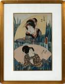 KUNISADA UKIYOE WOODBLOCK PRINT LADIES FLOWERS