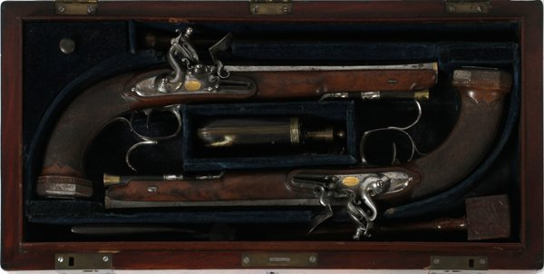 FRENCH FLINTLOCK, DUELING PISTOLS AND CASE