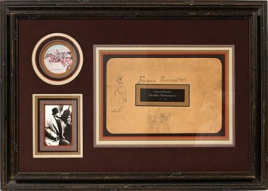 FREDERIC REMINGTON DRAWING AND SIGNATURE, 1887