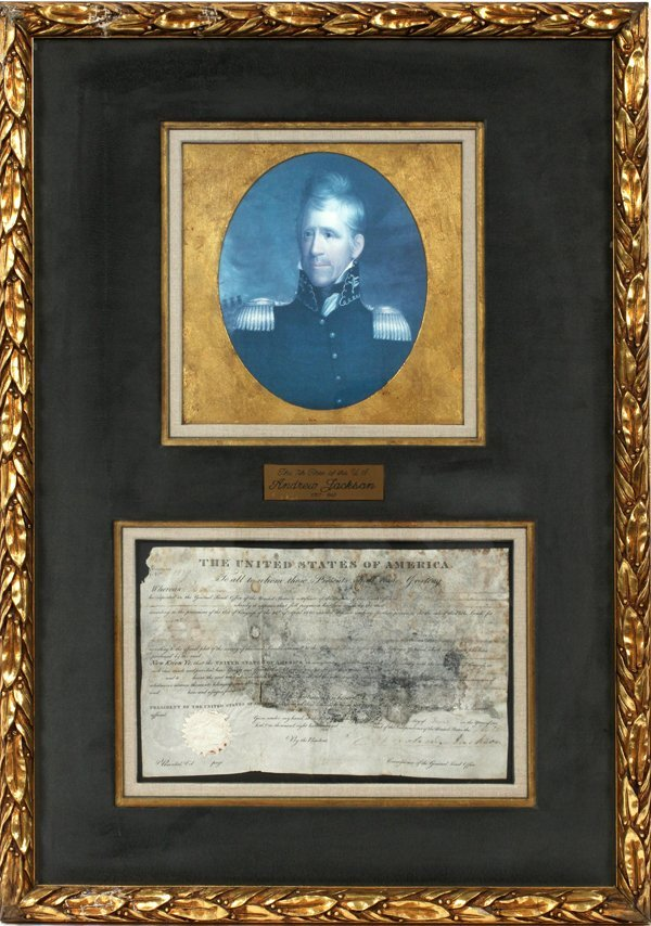 ANDREW JACKSON AUTOGRAPHED DOCUMENT, H 9""