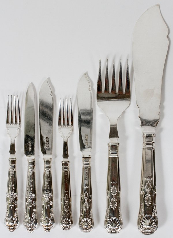 ENGLISH STERLING FISH FORKS, KNIVES, 57 PIECES