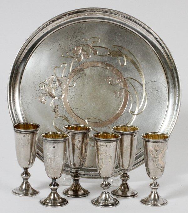 RUSSIAN ART NOUVEAU SILVER LIQUEUR CUPS & TRAY