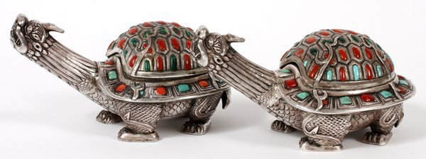 CHINESE SILVER CORAL TURQUOISE DRAGON TURTLE BOX