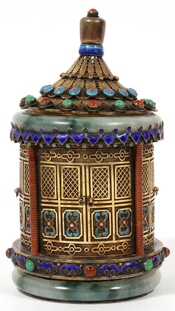 CHINESE JADE-MOUNTED SILVER GILT & ENAMEL BOX