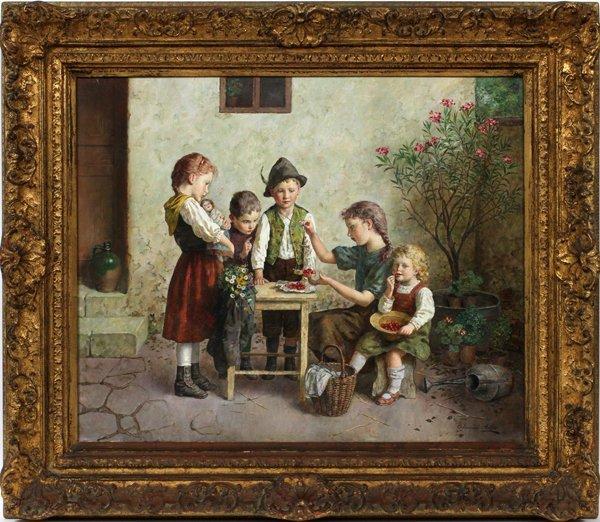 EDMUND ADLER OIL, CHILDREN SHARING CHERRIES