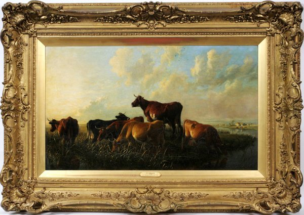 """THOMAS SIDNEY COOPER, OIL ON CANVAS H21.5"""" L36"""""""