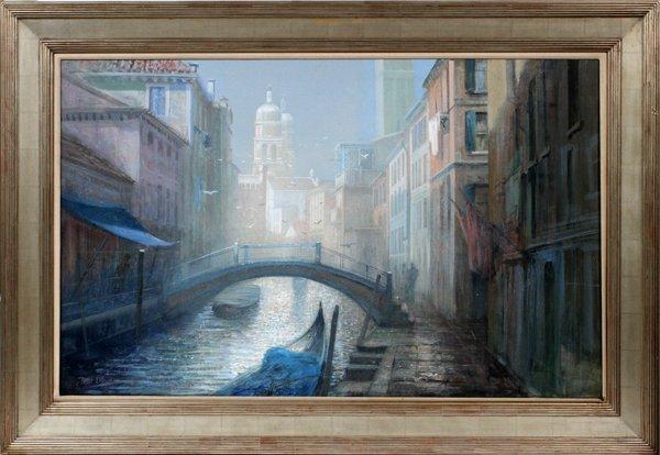 "PETER ELLENSHAW OIL ON CANVAS ""VENETIAN CANAL"""