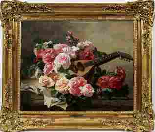 GEORGES JEANNIN OIL, 'STILL LIFE OF ROSES'