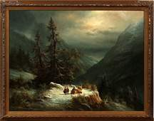 LUDWIG MUNINGER OIL ON CANVAS MOUNTAIN LANDSCAPE
