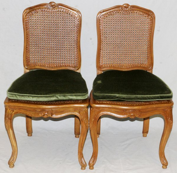 FRENCH CARVED WALNUT AND CANE DINING CHAIRS, 24 - 2
