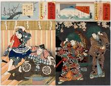 TOYOKUNI III UKIYOE WOODBLOCK PRINTS WARRIORS