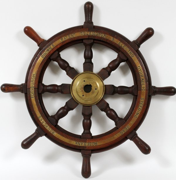 WOOD & BRASS SHIP'S WHEEL, ROSEBANK IRONWORKS