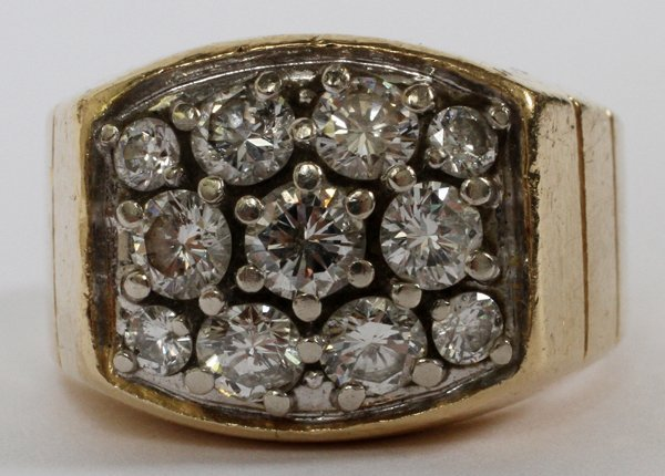 14 KT YELLOW GOLD AND DIAMOND GENTLEMAN'S RING