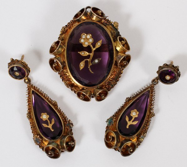 AMETHYST & 14 KT. GOLD PENDANT/BROOCH & EARRINGS