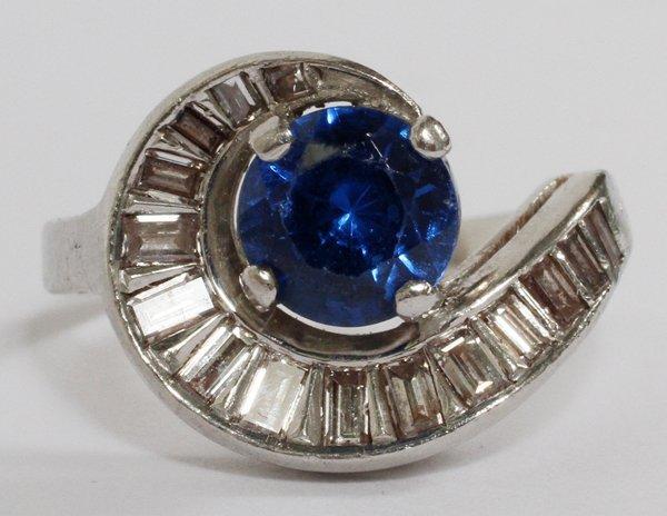 18KT WHITE GOLD DIAMOND FAUX SAPPHIRE LADY RING