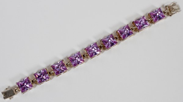 LADY'S STERLING AND AMETHYST BRACELET