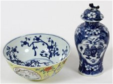CHINESE BLUE AND WHITE PORCELAIN BOWL AND JAR