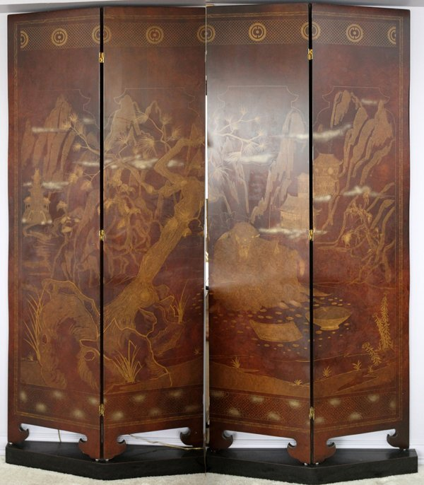 CHINESE FOUR PANEL FOLDING SCREEN ON BASES