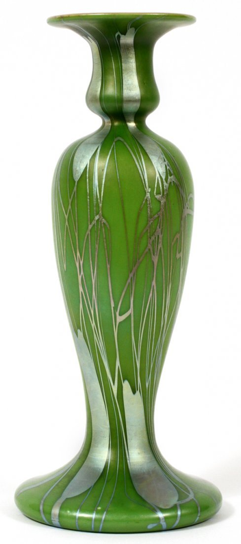 STEUBEN DECORATED GREEN AURENE GLASS VASE