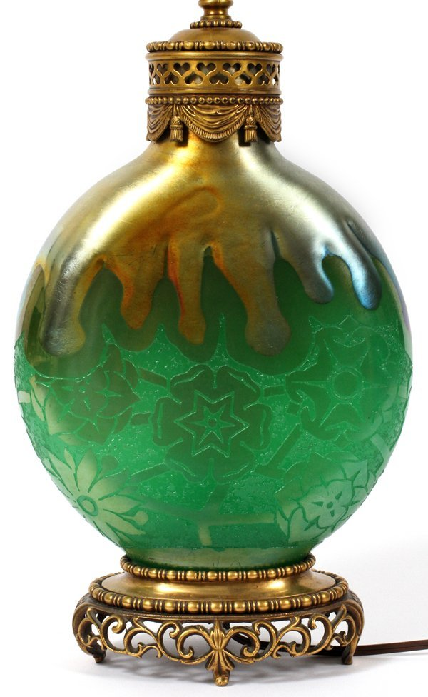 STEUBEN POMONA GREEN GOLD AURENE GLASS LAMP BASE