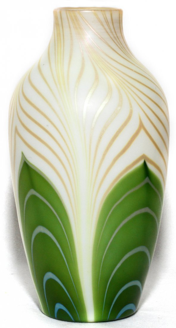 STEUBEN DECORATED AURENE GLASS VASE