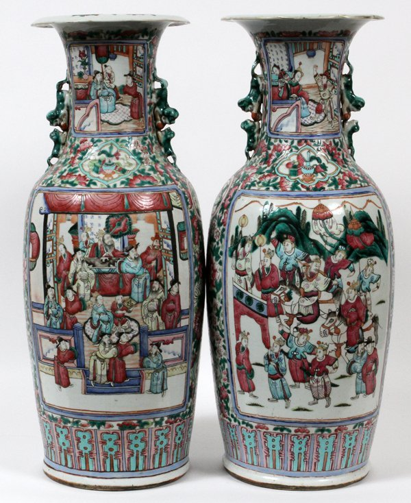 CHINESE FAMILLE ROSE PORCELAIN VASES AND STANDS