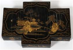 CHINESE BLACK LACQUER GAMING BOX W/ COUNTERS