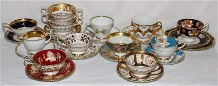 PORCELAIN TEA CUPS  SAUCERS ENGLISH  MEISSEN
