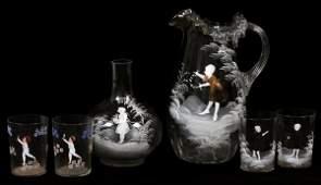 MARY GREGORY GLASS PITCHER EAU DE NUIT, TUMBLERS