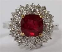 18KT WHITE GOLD RUBY  2CT DIAMOND RING GIA