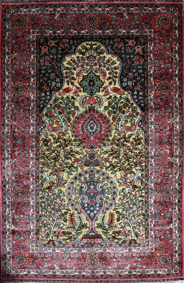 KASHAN SILK & GOLD THREAD PRAYER RUG